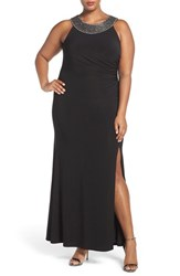 Vince Camuto Plus Size Women's Embellished Neck Shirred Jersey Gown