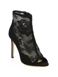 Monique Lhuillier Serena Lace And Suede Peep Toe Booties Noir