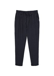 Mango Printed Baggy Trousers Navy