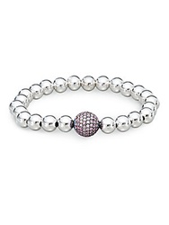 Bavna Pink Sapphire And Sterling Silver Bead Bracelet Silver Sapphire