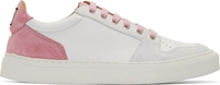 Ami Alexandre Mattiussi White And Pink Suede Trimmed Sneakers