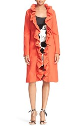 Milly Women's Ruffle Collar Twill Wrap Coat Flame