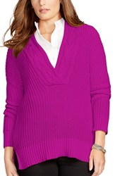 Plus Size Women's Lauren Ralph Lauren Cable V Neck Sweater