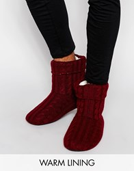 Asos Slipper Boots In Burgundy Cable Knit With Warm Lining Red