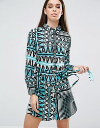 Ax Paris Printed Shirt Dress Turquoise Blue