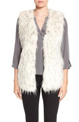 Via Spiga Women's Collarless Faux Fur Vest White Black Tipping