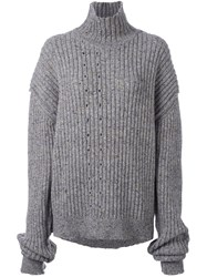 Damir Doma Ribbed Roll Neck Oversized Jumper Grey