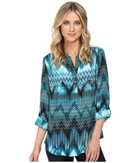Christin Michaels Aniseed Print Top Teal Black White Women's Clothing Blue