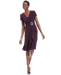R And M Richards Short Sleeve Faux Wrap Dress Plum