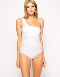 By Caprice Charites Mono Strap One Piece Swimsuit White