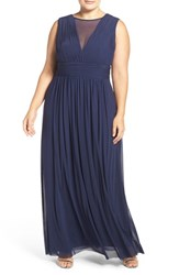 Marina Plus Size Women's Illusion V Neck Sleeveless Gown Navy