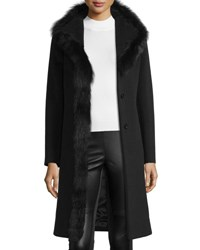 Cinzia Rocca Wool Coat W Fox Fur Trim Black Black Black Fox