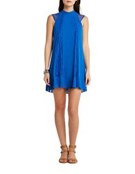 Bcbgeneration Chiffon Pleated Lace Trim Trapeze Dress Sapphire