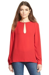 Wayf Keyhole Long Sleeve Blouse Red