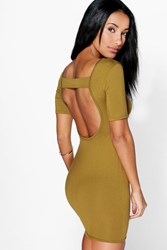 Boohoo Open Back Bodycon Dress Olive