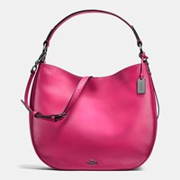 Coach Nomad Hobo In Burnished Glovetanned Leather Dark Gunmetal Cerise