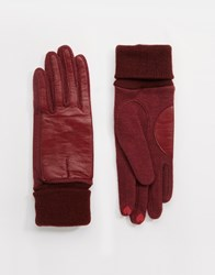 Esprit Nappa Leather Gloves Bordeauxred