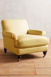 Anthropologie Linen Willoughby Chair Hickory Daffodil