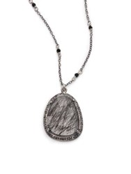 Chan Luu Black Rutilated Quartz Champagne Diamond Crystal And Sterling Silver Long Pendant Necklace