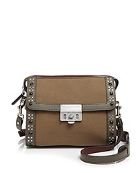 Marc By Marc Jacobs Embellished Canvas Espionage Crossbody Military Green Multi