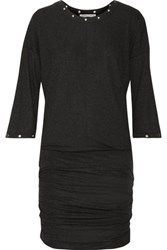Rebecca Minkoff Ori Embellished Ruched Ribbed Stretch Jersey Mini Dress Charcoal