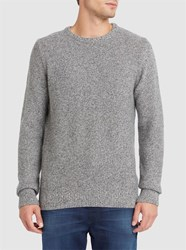 Knowledge Cotton Apparel Mottled Grey Wool Round Neck Sweater