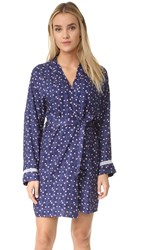 Cosabella Paul And Joe Margeaux Kimono Robe Heart Plaid Navy Blue White