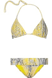 Vix Swimwear Ruda Snake Print Triangle Bikini Top Yellow