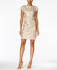 Vince Camuto Geometric Sequin Sheath Dress Champagne
