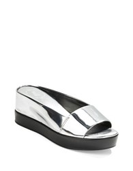 French Connection Pepper Metallic Open Toe Slides Silver