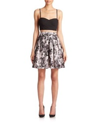 Aidan Mattox Bustier And Taffeta Skirt Set Black Multi