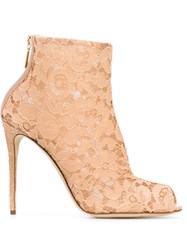 Dolce And Gabbana Floral Lace Booties Pink And Purple