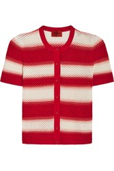 Missoni Striped Crochet Knit Cardigan Red