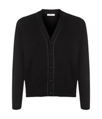 Sandro Merino Wool V Neck Cardigan Black