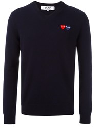 Comme Des Garcons Play Embroidered Heart Jumper Blue