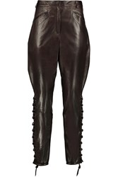 Emilio Pucci Lace Up Leather Skinny Pants