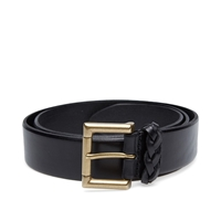 Andersons Anderson's Burnished Leather Woven Trim Belt Black