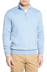 Men's Bobby Jones Windproof Merino Wool Quarter Zip Sweater Light Blue