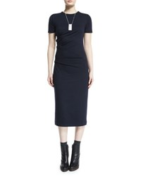 Brunello Cucinelli Short Sleeve Stretch Wool Midi Dress Navy