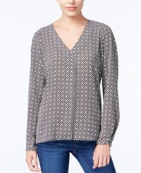 Bar Iii Long Sleeve V Neck Blouse Only At Macy's Black Combo