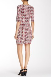Laundry By Shelli Segal Elbow Length Sleeve Printed Dress Petite Pink