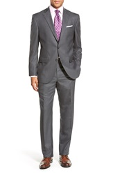 David Donahue 'Ryan' Classic Fit Solid Wool Suit Charcoal
