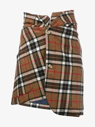 Jacquemus Check Print Skirt Beige White Red Brown