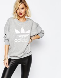Adidas Originals Adicolour Oversized Crew Neck Sweatshirt With Trefoil Logo Grey