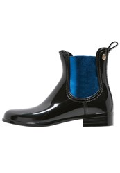 Lemon Jelly Rose 01 Wellies Black Electric Blue