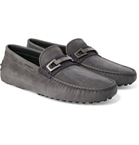 Tod's Gommino Nubuck Driving Shoes Anthracite