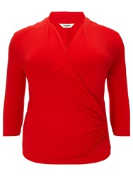 Studio 8 Agatha Ruched Jersey Top Red Black