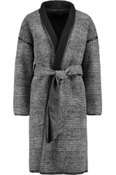 Muubaa Bovary Reversible Leather Trimmed Wool Blend Coat Black