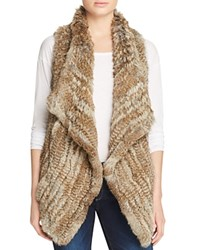 Bloomingdale's C By Fur Front Cashmere Vest Natural Tan