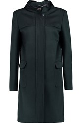 Joseph Leather Trimmed Wool Coat Green